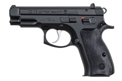 "CZ-USA CZ 75 Compact 9mm  Item #: CZ01190 / MFG Model #: 01190 / UPC: 806703011905 75 COMPACT 9MM BLK 10+1 3.9"" MT BL/BLACK RUBBER"