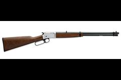 Browning BL-22 Grade I 22 LR  Item #: BR024-107102 / MFG Model #: 024107102 / UPC: 023614250197 BL-22 SATIN NICKLE 22LR GR I