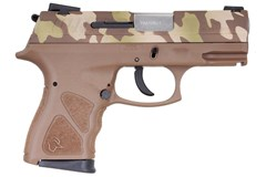 "Taurus TH9 9mm  Item #: TATH9BTC / MFG Model #: 1-TH9041B-LFC / UPC: 725327933458 TH9 9MM CAMO/TAN 4.3"" 17+1 MS 1-TH9041B-LFC | MANUAL SAFETY"