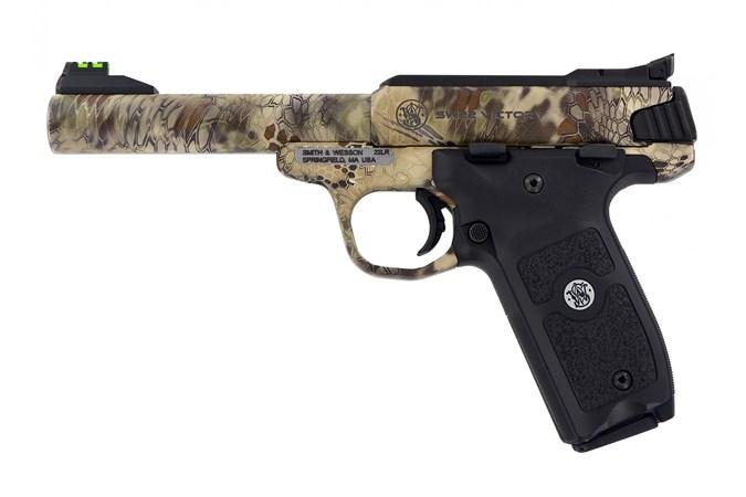 "Smith and Wesson SW22 Victory 22 LR Semi-Auto Pistol - Item #: SM10297 / MFG Model #: 10297 / UPC: 022188867886 - SW22 VICTORY 22LR KRYPTEK 5.5"" 10297 KRYPTEK HIGHLANDER CAMO"