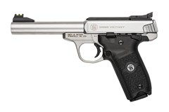 "Smith and Wesson SW22 Victory 22 LR  Item #: SM108490 / MFG Model #: 108490 / UPC: 022188864076 SW22 VICTORY 22LR SS 5.5"" 10+1 108490