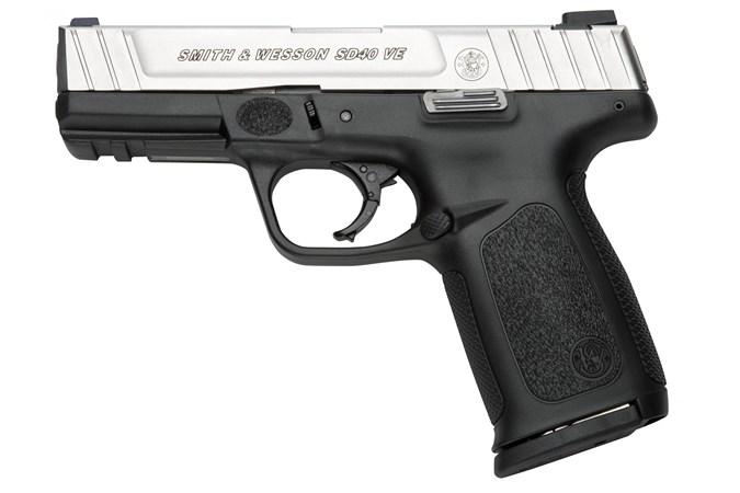 "Smith and Wesson SD40VE 40 S&W Semi-Auto Pistol - Item #: SM123400 / MFG Model #: 123400 / UPC: 022188234008 - SD40VE 40S&W 10+1 4"" SS/BLK FS 123400"