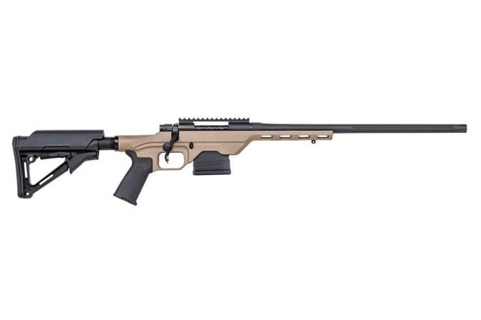 "Mossberg MVP LC (Light Chassis) 6.5 Creedmoor Rifle - Item #: MB28018 / MFG Model #: 28018 / UPC: 015813280181 - MVP LC 6.5CR BL/TAN 20"" 10+1 TAN CHASSIS/BLK MAGPUL ACCESS"