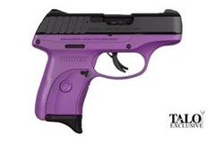 TALO EXCLUSIVE Ruger EC9s 9mm  Item #: RUEC9S-PPG / MFG Model #: 3287 / UPC: 736676032877 EC9S 9MM BLK/PURPLE 7+1 FS 3287