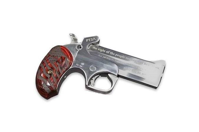 "Bond Arms PT2A-Protect the 2nd Amendment 357 Magnum   38 Special Specialty Handgun - Item #: BAPT2A357/38 / MFG Model #: PT2A357/38 / UPC: 855959002373 - 2ND AMENDMENT 357M/38SP 4.25"" EXTENDED GRIPS DRIVING HOLSTER"