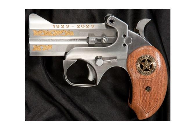 "Bond Arms Texas Ranger 410 Bore | 45 Colt Specialty Handgun - Item #: BATR45/410 / MFG Model #: BATR45/410 / UPC: 855959007972 - TEXAS RANGER 45LC/410 3.5"" SS GOLD INLAYED BARRELS"