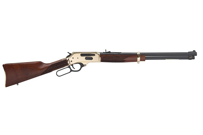 Henry Repeating Arms Side Gate Lever Action 38-55 Win Rifle - Item #: HNH024-3855 / MFG Model #: H024-3855 / UPC: 619835060464 - LEVER ACT SIDEGATE 38-55 BRASS BRASS REC'R|ADJUSTABLE SIGHTS