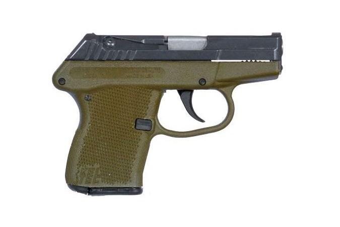 Keltec P-32 32 ACP Semi-Auto Pistol - Item #: KTP32BGRN / MFG Model #: P32BGRN / UPC: 640832000467 - P-32 32ACP 7+1 BL/GREEN POLY BLUE SLIDE/GREEN FRAME