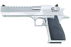 "Magnum Research Desert Eagle 357 Magnum  Item #: MRDE357PC / MFG Model #: DE357PC / UPC: 761226024248 DESERT EAGLE 357 POLISH CHROME 6"" BARREL   BLACK RUBBER GRIPS"