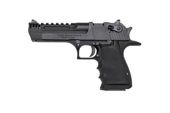 "Magnum Research Desert Eagle L5 50 AE Semi-Auto Pistol - Item #: MRDE50L5IMB / MFG Model #: DE50L5IMB / UPC: 761226087717 - DESERT EAGLE L5 50AE BLK 5"" INTEGRAL MUZZLE BRKE|NY COMPLY"