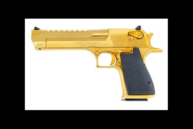 "Magnum Research Desert Eagle 50 AE Semi-Auto Pistol - Item #: MRDE50TG / MFG Model #: DE50TG / UPC: 761226029885 - DESERT EAGLE 50AE TTNM GOLD 6"" TITANIUM GOLD/BLK RUBBER GRIPS"