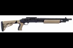 TALO EXCLUSIVE Mossberg 500 Scorpion 12 Gauge  Item #: MB50424 / MFG Model #: 50424 / UPC: 015813504249 500 SCORPION 12/18.5 BL/FDE FDE FURNITURE|RAIL/HEATSHIELD