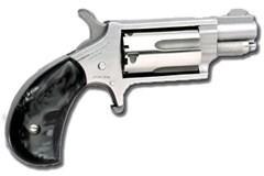 LIPSEY'S EXCLUSIVE North American Arms Mini-Revolver 22 Magnum  Item #: NONAA22MSGPB / MFG Model #: NAA-22MS-GP-B / UPC: 744253001086 MINI 22MAG REV 1-1/8 SS BLKPRL NAA-22MS-GP-B PEARLITE GRIPS