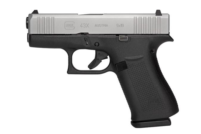 """GLOCK G43X 9mm Semi-Auto Pistol - Item #: GLUX435SL201 / MFG Model #: UX435SL201 / UPC:  - G43X 9MM SILVER 3.39"""" 10+1 FS#"""