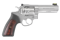 "LIPSEY'S EXCLUSIVE Ruger GP100 357 Magnum | 38 Special  Item #: RUKGP141-HV / MFG Model #: 1762 / UPC: 736676017621 GP100 357MAG SS/RUB 4"" HIVIZ 1762 RUBBER GRIP W/WOOD INSERT"