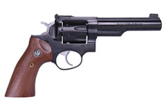 "LIPSEY'S EXCLUSIVE Ruger GP100 327 Federal Magnum  Item #: RUGP32751 / MFG Model #: 1769 / UPC: 736676017690 GP100 327FED BLUE 5"" HALF LUG 1769 ADJ SGTS/WALNUT GRIPS"