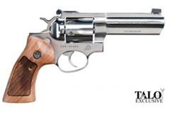 "TALO EXCLUSIVE Ruger GP100 357 Magnum | 38 Special  Item #: RUGKGP-141 / MFG Model #: 1777 / UPC: 736676017775 GP100 357MAG 4"" HBBL POLISH SS 1777"