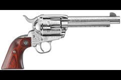 "TALO EXCLUSIVE Ruger Vaquero 45 Colt  Item #: RUKNV-455-TALO / MFG Model #: 5157 / UPC: 736676051571 VAQUERO 45LC SS 5.5"" ENGRAVED 5157|DIAMOND WD GRIPS"