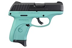 TALO EXCLUSIVE Ruger EC9s 9mm  Item #: RUEC9S-TG / MFG Model #: 3285 / UPC: 736676032853 EC9S 9MM BLK/TURQUOISE 7+1 FS 3285