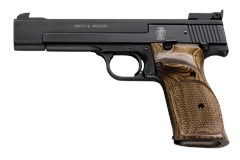 "Smith and Wesson 41 22 LR  Item #: SM130511 / MFG Model #: 130511 / UPC: 022188305111 41 22LR 10+1 BLUE/WOOD 5.5"" AS 130511"