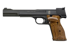 "Smith and Wesson 41 22 LR  Item #: SM130512 / MFG Model #: 130512 / UPC: 022188305128 41 22LR 10+1 BLUE/WOOD 7"" AS 130512"