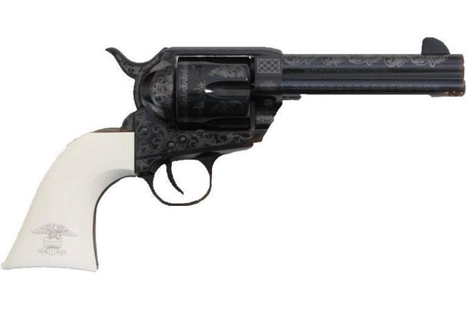 "Traditions 1873 Single Action Liberty 45 Colt Revolver - Item #: TDSAT73-122LIB / MFG Model #: SAT73-122LIB / UPC: 040589020389 - 1873 SA LIB 45LC BL/WHT 4.75"" FRONTIER SERIES"