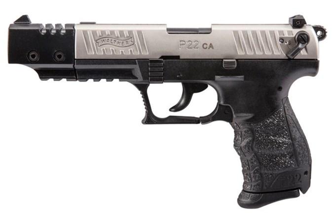 "Walther Arms P22 Target 22 LR Semi-Auto Pistol - Item #: WA5120337 / MFG Model #: 5120337 / UPC: 723364200366 - P22 TARGET 22LR 10+1 5"" NKL CA CALIFORNIA COMPLIANT"