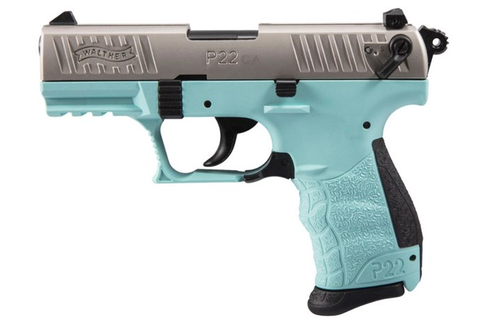 Walther Arms P22 22 LR Semi-Auto Pistol - Item #: WA5120362 / MFG Model #: 5120362 / UPC: 723364211140 - P22 22LR NKL/ANGEL BLUE 3.4 CA CALIFORNIA COMPLIANT