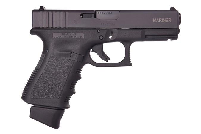 """GLOCK G19 Mariner 9mm Semi-Auto Pistol - Item #: GLEI1955206EM3 / MFG Model #: EI1955206EM3 / UPC: 764503042157 - G19 G3 9MM 17+1 4"""" FS MARINER# 3-17RD MAGS"""