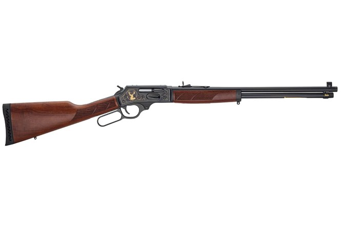 Henry Repeating Arms 30-30 Lever Steel Wildlife 30-30 Rifle - Item #: HNH009GWL / MFG Model #: H009GWL / UPC: 619835090126 - LEVER WILDLIFE 30-30 BL/WD SIDE GATE | 24KT GOLD INLAYS