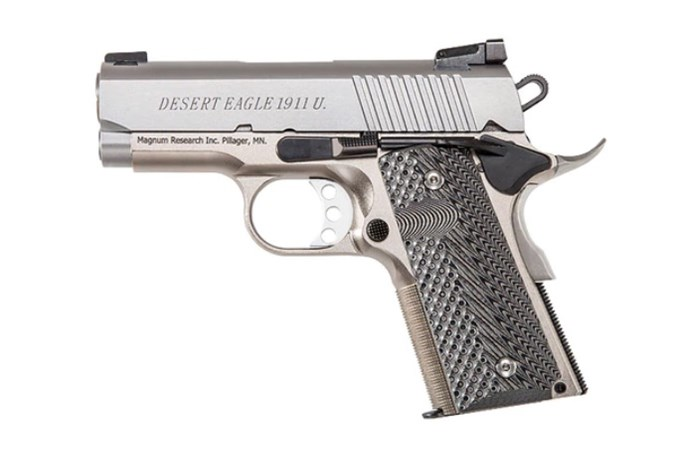 "Magnum Research Desert Eagle 1911 45 ACP Semi-Auto Pistol - Item #: MRDE1911USS / MFG Model #: DE1911USS / UPC: 761226087274 - DESERT EAGLE 1911 45ACP 3"" SS"