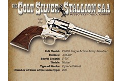 """TALO EXCLUSIVE Colt Single Action Army 45 Colt  Item #: COP1850-TLE / MFG Model #: P1850-TLE / UPC:  SILVER STALLION SSA 45LC 5.5""""# 1-OF-200"""