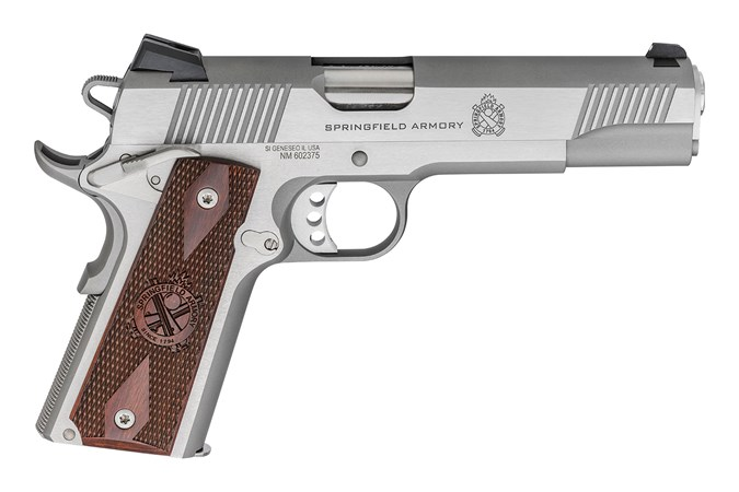 "Springfield Armory Loaded Stainless Steel 45 ACP Semi-Auto Pistol - Item #: SFPX9151LCA / MFG Model #: PX9151LCA / UPC: 706397913151 - 1911 45 LOADED STAINLESS CA 5"" BBL / FULL SIZE GRIP 7+1"