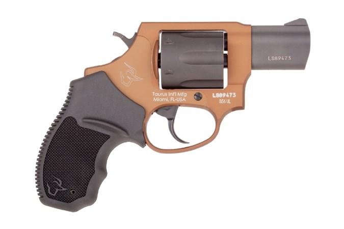 "Taurus 856 Ultra Lite 38 Special Revolver - Item #: TA856BBUL / MFG Model #: 2-856021ULC12 / UPC: 725327616641 - 856 ULTRA LT 38SP BRONZE/BK 2"" 2-856021ULC12 FIXED SGT 6 SHOT"