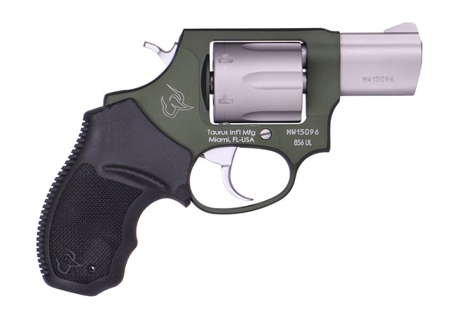 "Taurus 856 Ultra Lite 38 Special Revolver - Item #: TA856ODGSUL / MFG Model #: 2-856029ULC20 / UPC: 725327600077 - 856 ULTRA LT 38SP ODG/SS 2""  # 2-856029ULC20|FIXED SGT|6 SHOT"